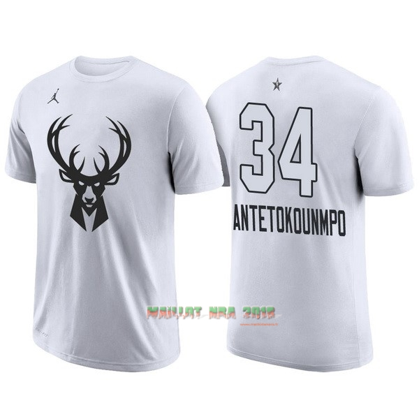 Maillot NBA 2018 All Star Manche Courte NO.34 Giannis Antetokounmpo Blanc
