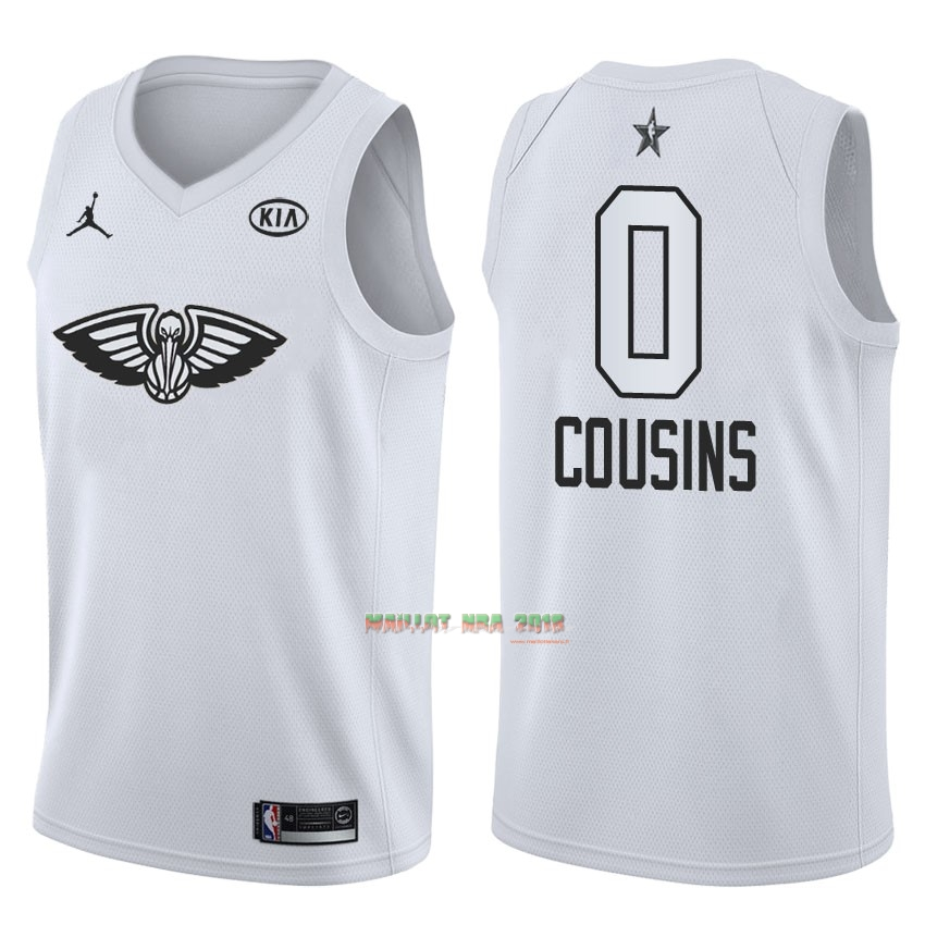 Maillot NBA 2018 All Star NO.0 DeMarcus Cousins Blanc