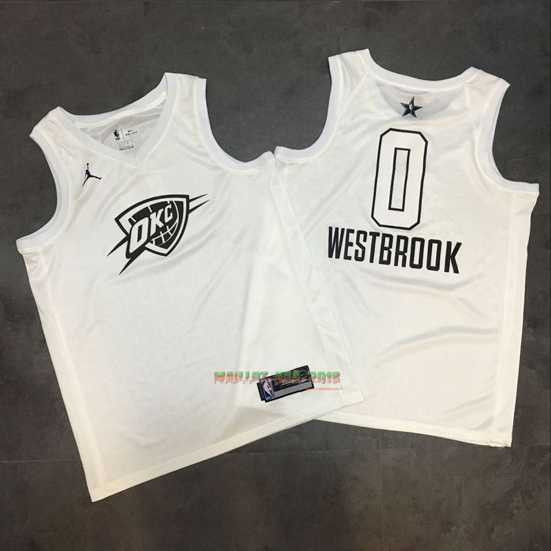 Maillot NBA 2018 All Star NO.0 Russell Westbrook Blanc