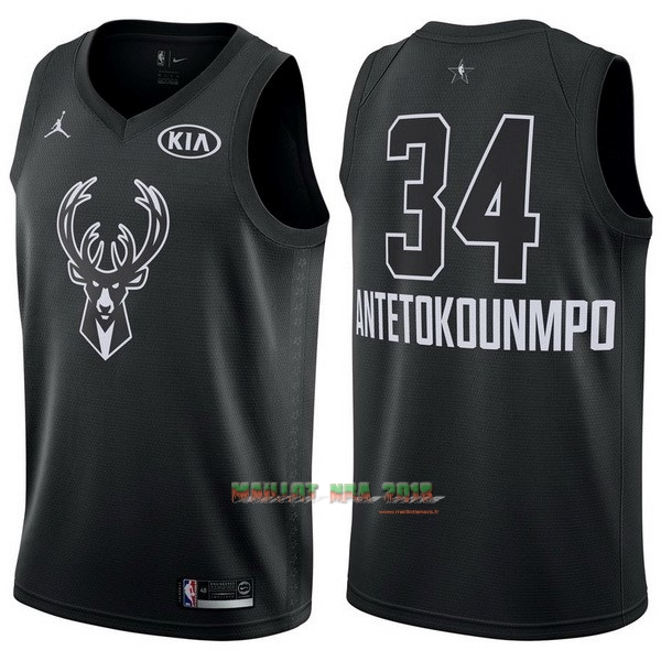 Maillot NBA 2018 All Star NO.34 Giannis Antetokounmpo Noir
