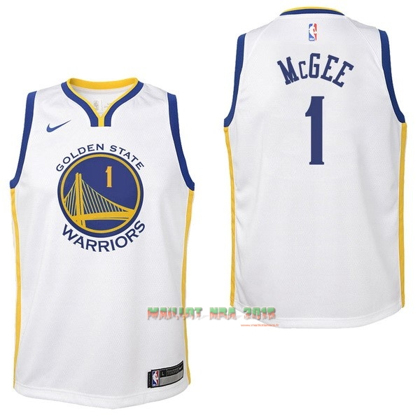 Maillot NBA Enfant Golden State Warriors NO.1 JaVale McGee Blanc Association