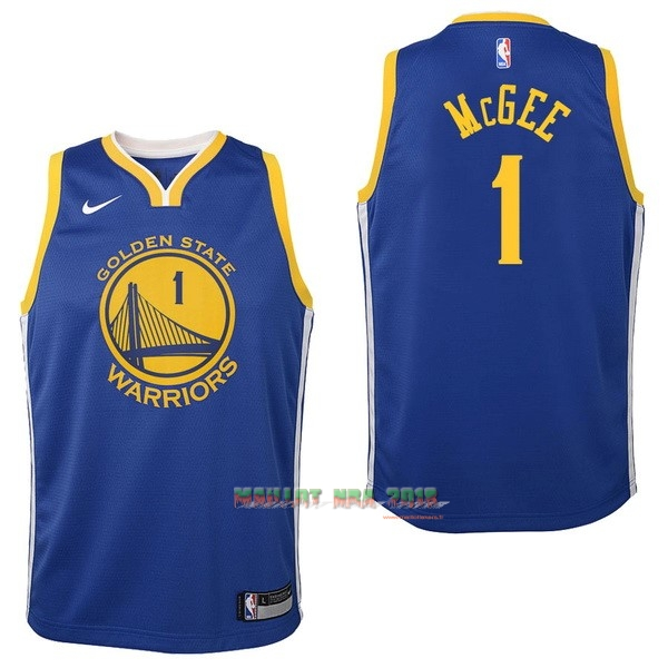 Maillot NBA Enfant Golden State Warriors NO.1 JaVale McGee Bleu Icon