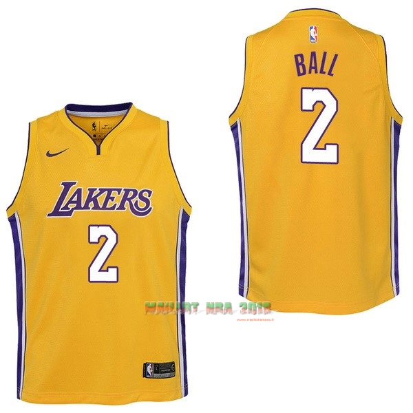 Maillot NBA Enfant Los Angeles Lakers NO.2 Lonzo Ball Jaune Icon