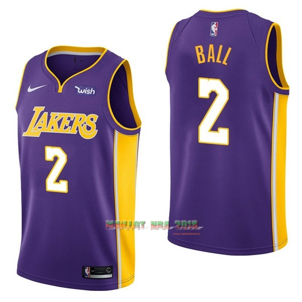 Maillot NBA Enfant Los Angeles Lakers NO.2 Lonzo Ball Pourpre