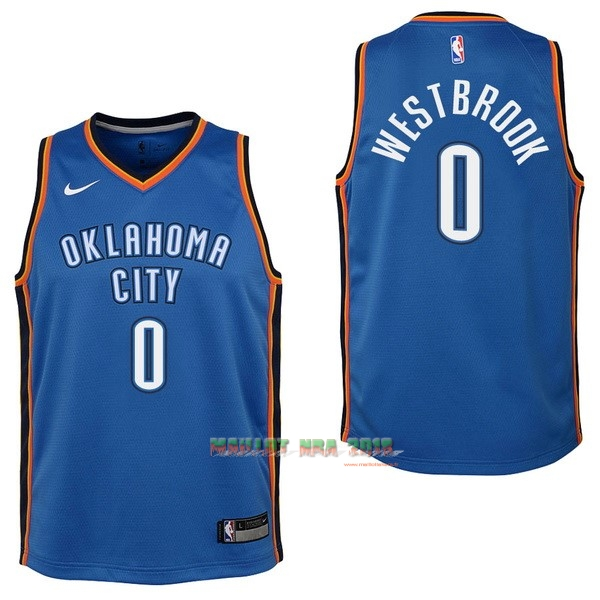 Maillot NBA Enfant Oklahoma City Thunder NO.0 Russell Westbrook Bleu Icon