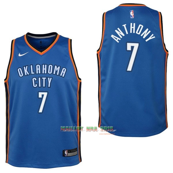 Maillot NBA Enfant Oklahoma City Thunder NO.7 Carmelo Anthony Bleu Icon