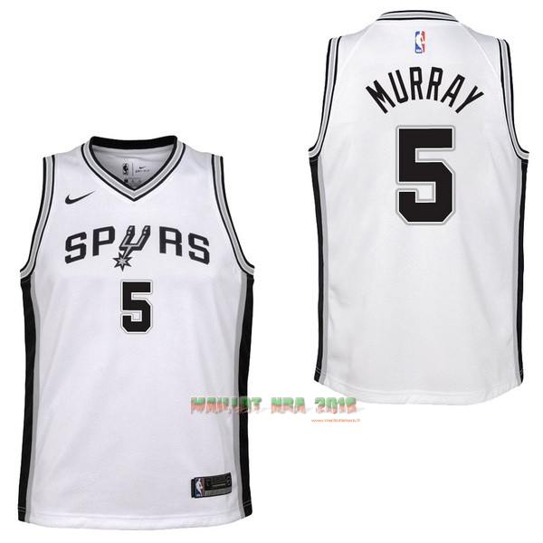 Maillot NBA Enfant San Antonio Spurs NO.5 Dejounte Murray Blanc Association
