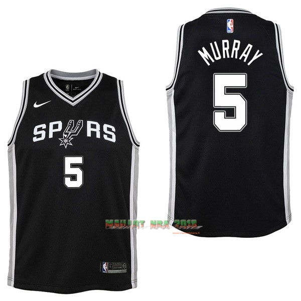 Maillot NBA Enfant San Antonio Spurs NO.5 Dejounte Murray Noir Icon
