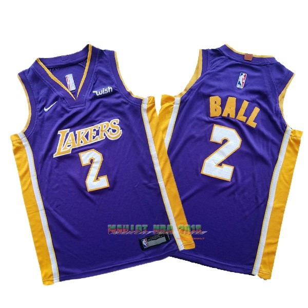 Maillot NBA Ensemble Complet Enfant Los Angeles Lakers NO.2 Lonzo Ball Pourpre