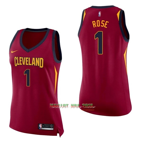 Maillot NBA Femme Cleveland Cavaliers NO.1 Derrick Rose Rouge Icon