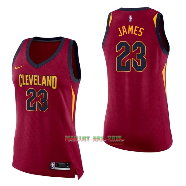 Maillot NBA Femme Cleveland Cavaliers NO.23 LeBron James Rouge Icon