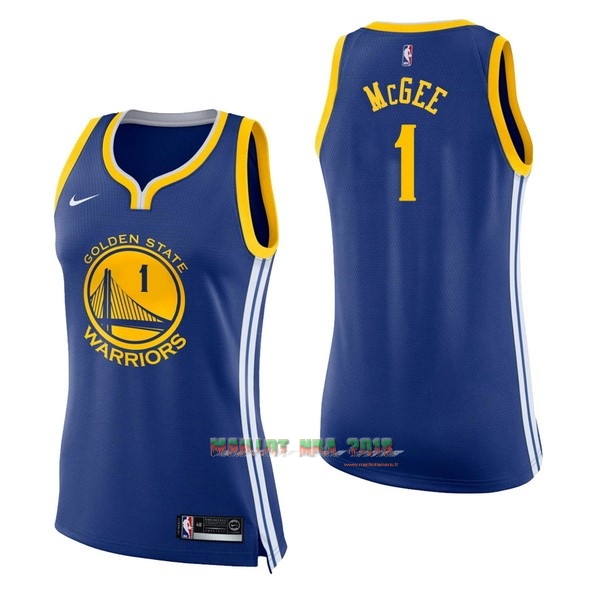 Maillot NBA Femme Golden State Warriors NO.1 JaVale McGee Bleu Icon