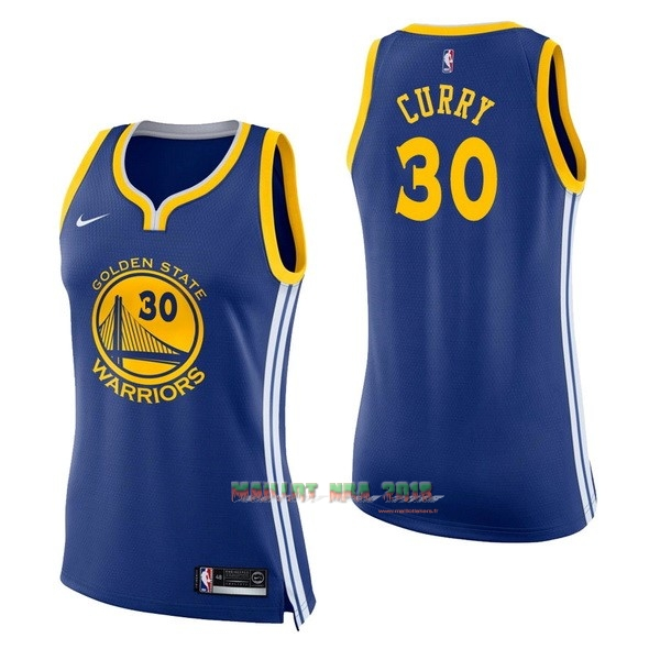 Maillot NBA Femme Golden State Warriors NO.30 Stephen Curry Bleu Icon