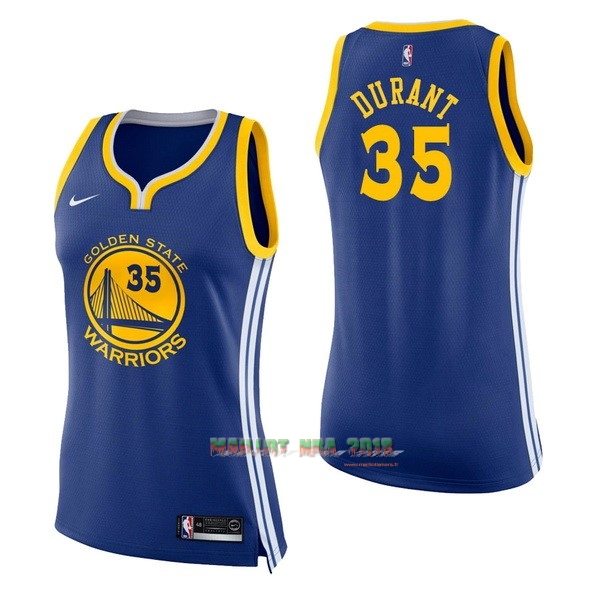Maillot NBA Femme Golden State Warriors NO.35 Kevin Durant Bleu Icon