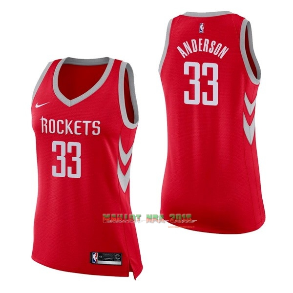 Maillot NBA Femme Houston Rockets NO.33 Ryan Anderson Rouge Icon