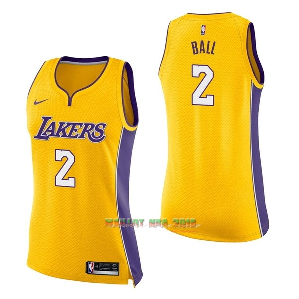 Maillot NBA Femme Los Angeles Lakers NO.2 Lonzo Ball Jaune Icon
