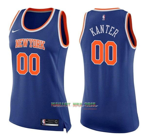 Maillot NBA Femme New York Knicks NO.0 Enes Kanter Bleu Icon