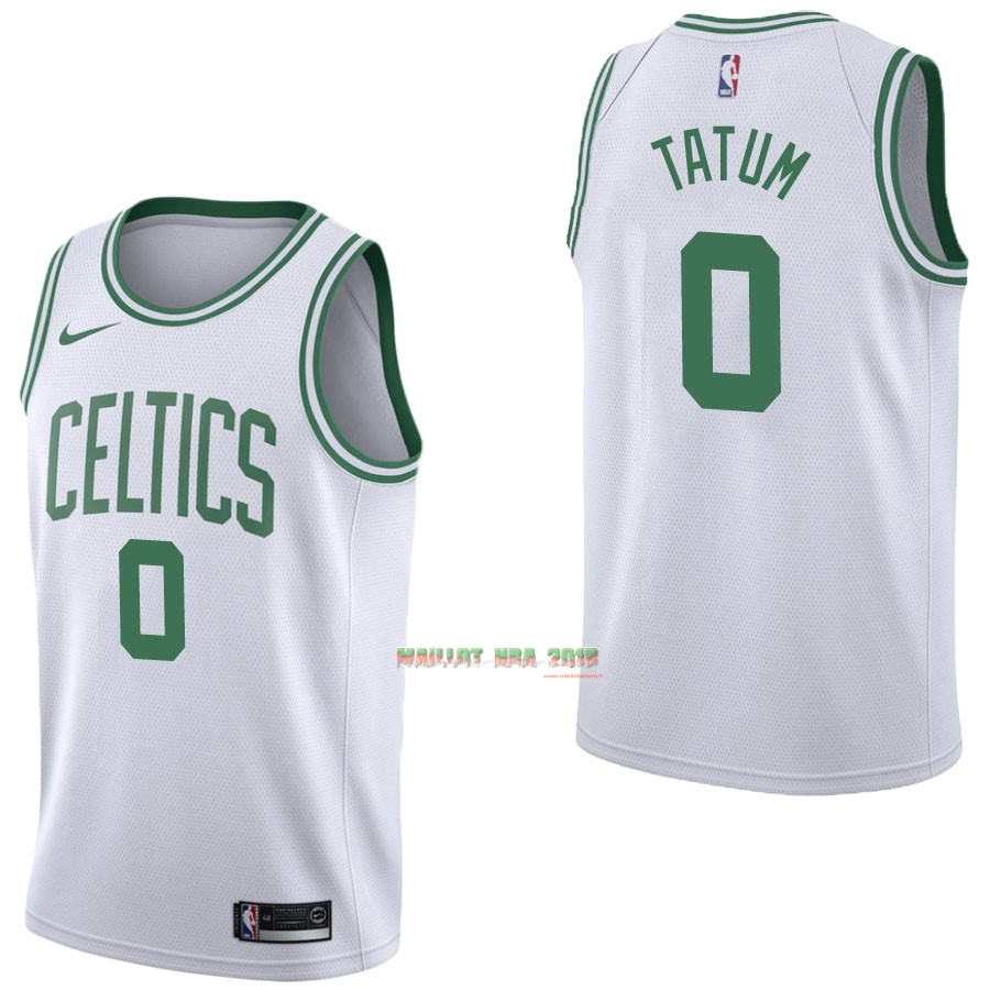 Maillot NBA Nike Boston Celtics NO.0 Jayson Tatum Blanc Association