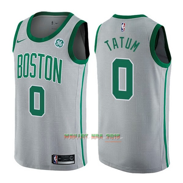 Maillot NBA Nike Boston Celtics NO.0 Jayson Tatum Gris Ville