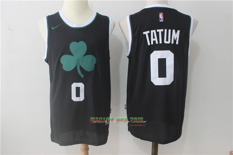 Maillot NBA Nike Boston Celtics NO.0 Jayson Tatum Tout Noir