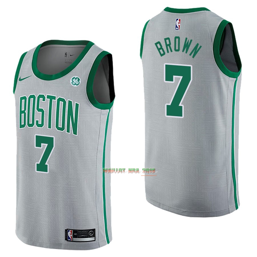 Maillot NBA Nike Boston Celtics NO.7 Jaylen Brown Gris Ville