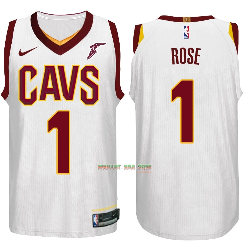 Maillot NBA Nike Cleveland Cavaliers NO.1 Derrick Rose Blanc