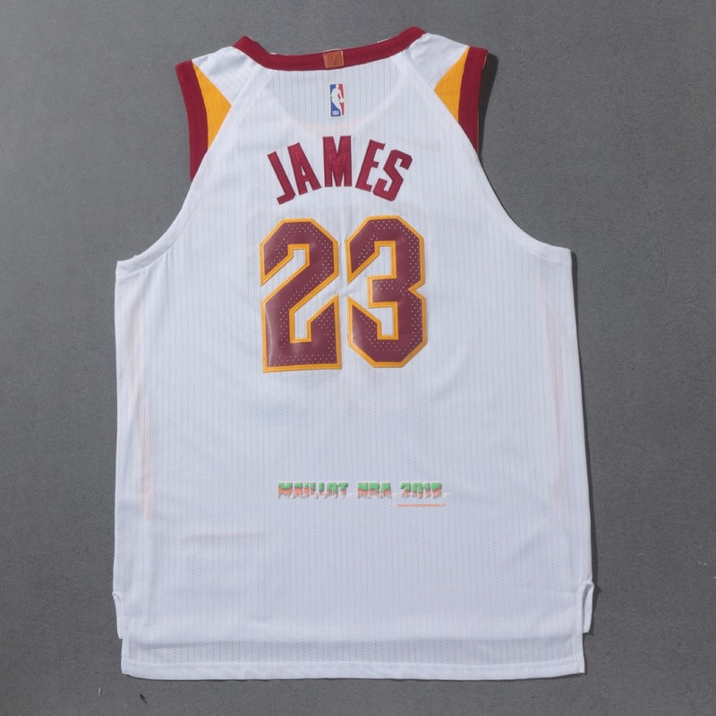 Maillot NBA Nike Cleveland Cavaliers NO.23 LeBron James Blanc