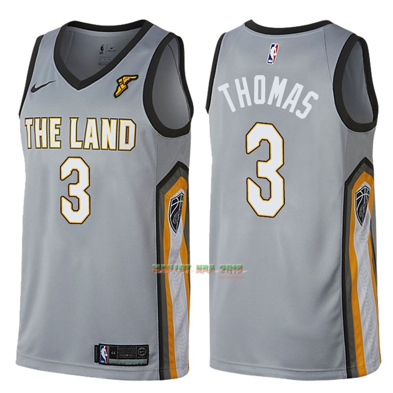Maillot NBA Nike Cleveland Cavaliers NO.3 Isaiah Thomas Gris Ville