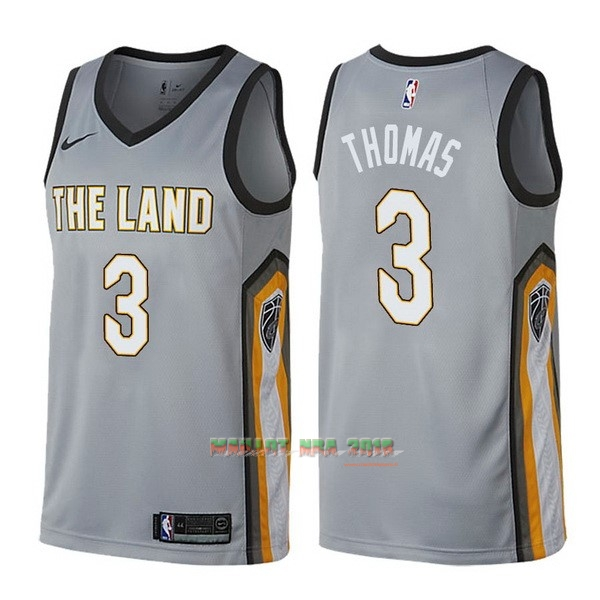 Maillot NBA Nike Cleveland Cavaliers NO.3 Isaiah Thomas Nike Gris Ville