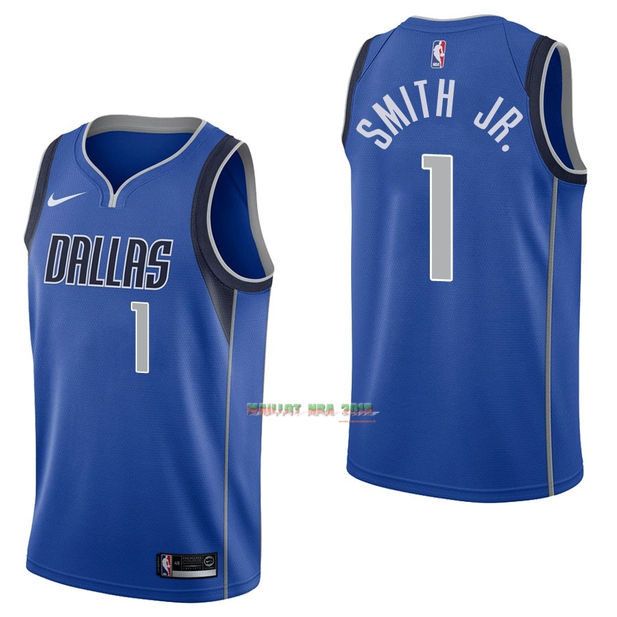 Maillot NBA Nike Dallas Mavericks NO.1 Dennis Smith Jr Bleu Icon
