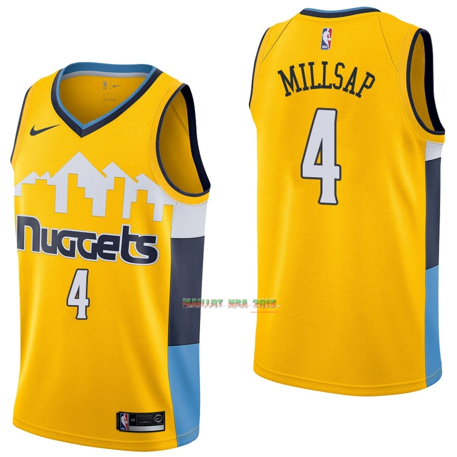 Maillot NBA Nike Denver Nuggets NO.4 Paul Millsap Jaune Statement