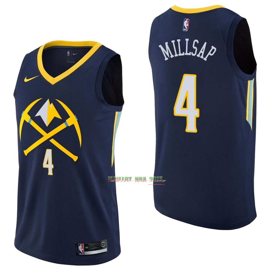Maillot NBA Nike Denver Nuggets NO.4 Paul Millsap Nike Marine Ville