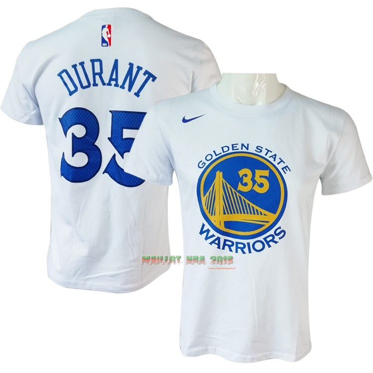 Maillot NBA Nike Golden State Warriors Manche Courte NO.35 Kevin Durant Nike Blanc