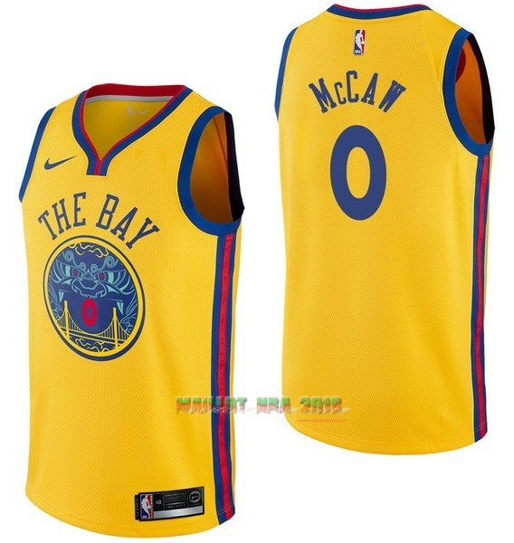 Maillot NBA Nike Golden State Warriors NO.0 Patrick McCaw Nike Jaune Ville