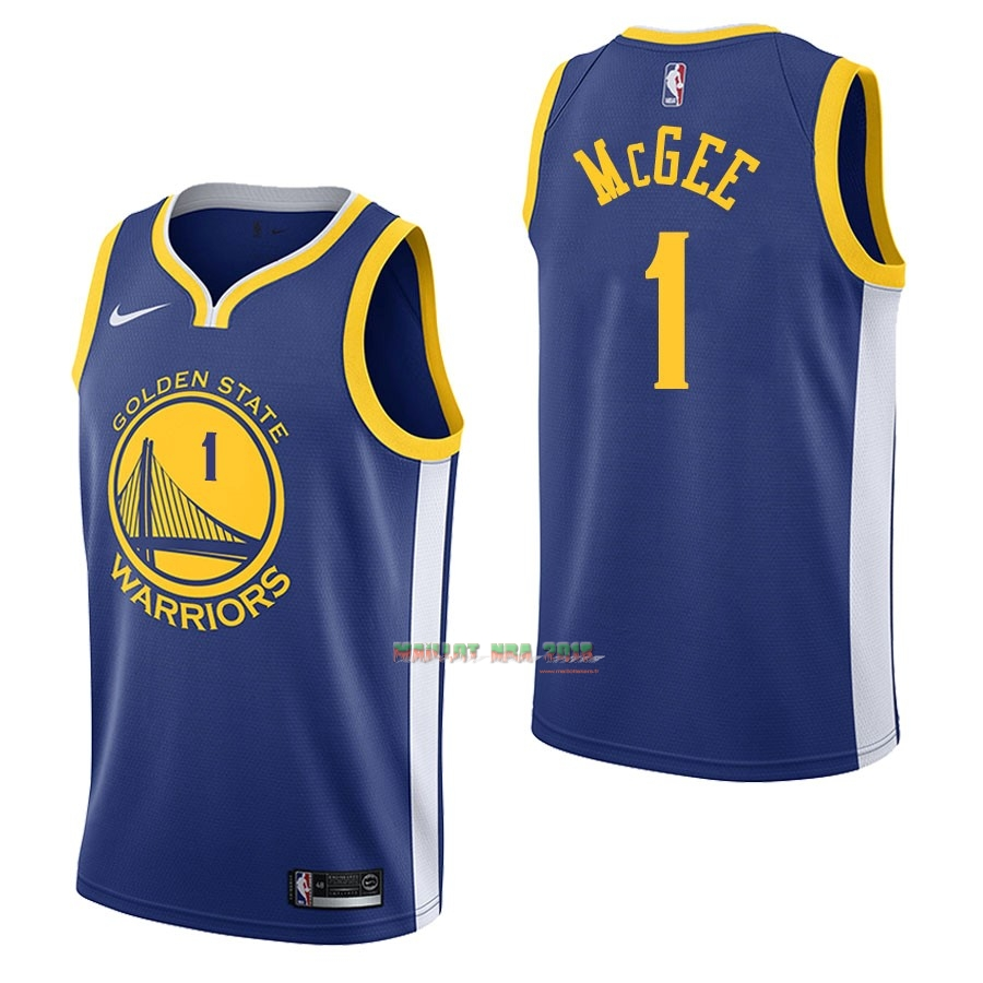 Maillot NBA Nike Golden State Warriors NO.1 JaVale McGee Bleu Icon