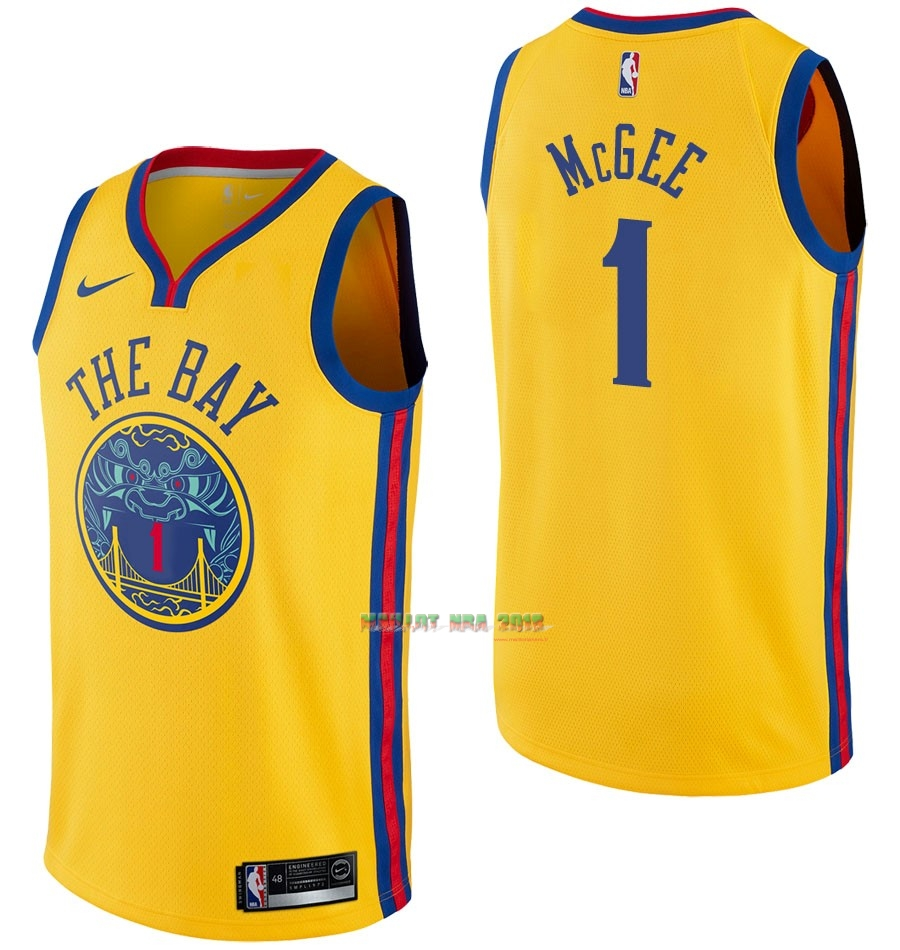 Maillot NBA Nike Golden State Warriors NO.1 JaVale McGee Nike Jaune Ville