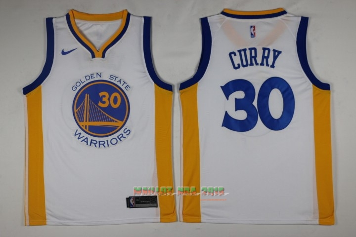 Maillot NBA Nike Golden State Warriors NO.30 Stephen Curry Blanc Association