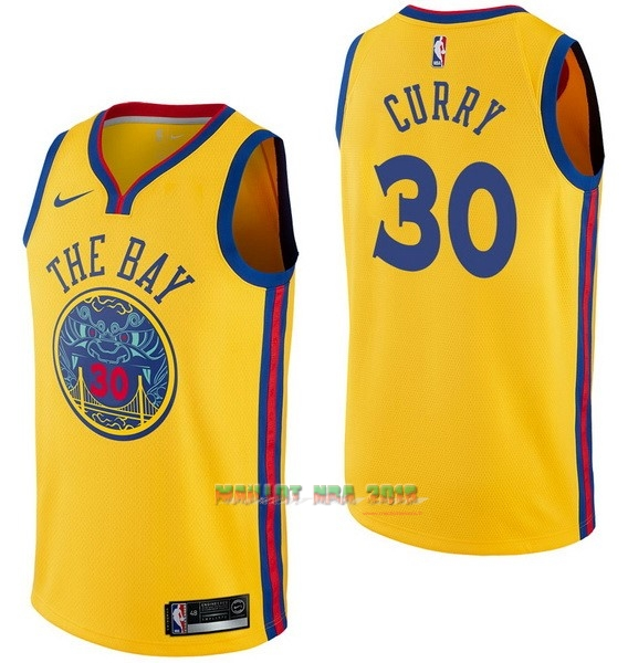 Maillot NBA Nike Golden State Warriors NO.30 Stephen Curry Nike Jaune Ville