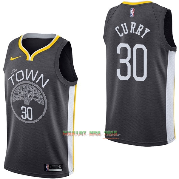 Maillot NBA Nike Golden State Warriors NO.30 Stephen Curry Noir Statement