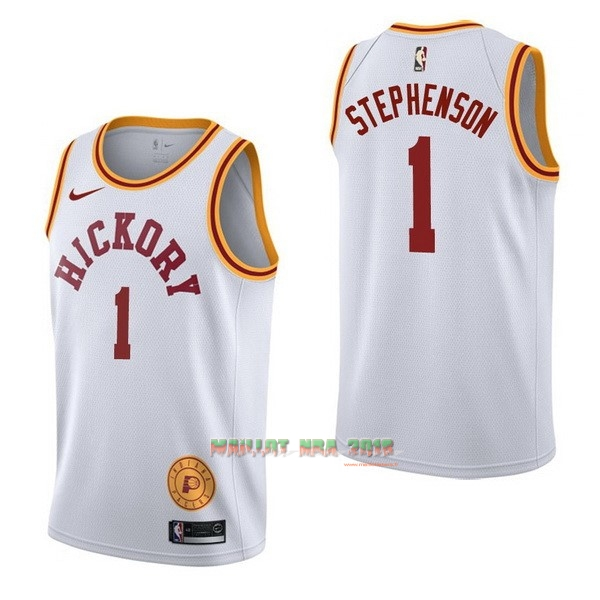 Maillot NBA Nike Indiana Pacers NO.1 Lance Stephenson Retro Blanc