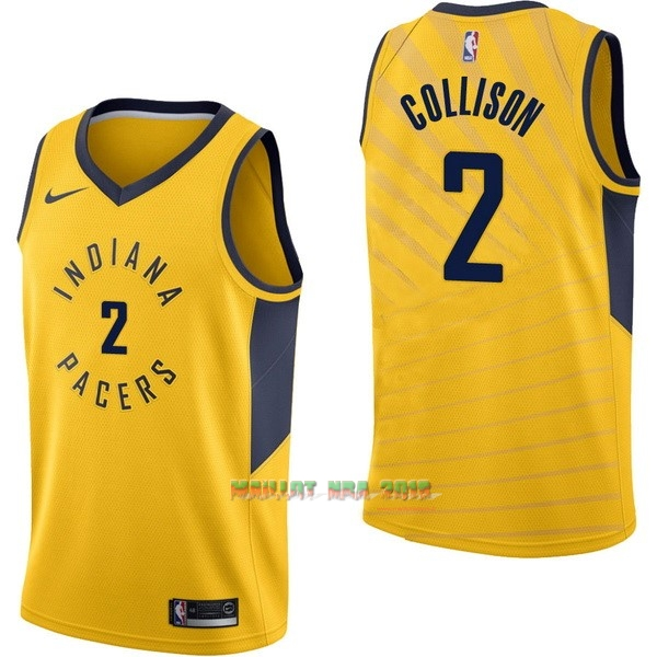 Maillot NBA Nike Indiana Pacers NO.2 Darren Collison Jaune Statement