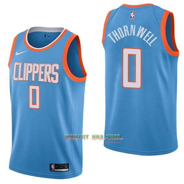 Maillot NBA Nike Los Angeles Clippers NO.0 Sindarius Thornwell Nike Bleu Ville