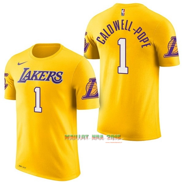 Maillot NBA Nike Los Angeles Lakers Manche Courte NO.1 Kentavious Caldwell Pope Jaune