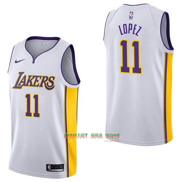 Maillot NBA Nike Los Angeles Lakers NO.11 Brook Lopez Blanc Association