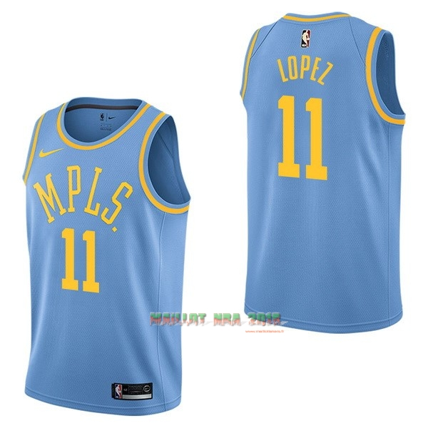 Maillot NBA Nike Los Angeles Lakers NO.11 Brook Lopez Retro Bleu