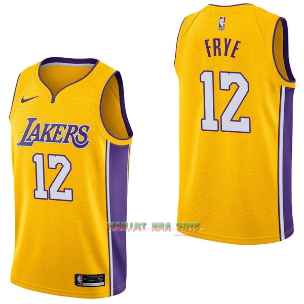 Maillot NBA Nike Los Angeles Lakers NO.12 Channing Frye Jaune Icon