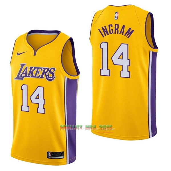 Maillot NBA Nike Los Angeles Lakers NO.14 Brandon Ingram Jaune Icon