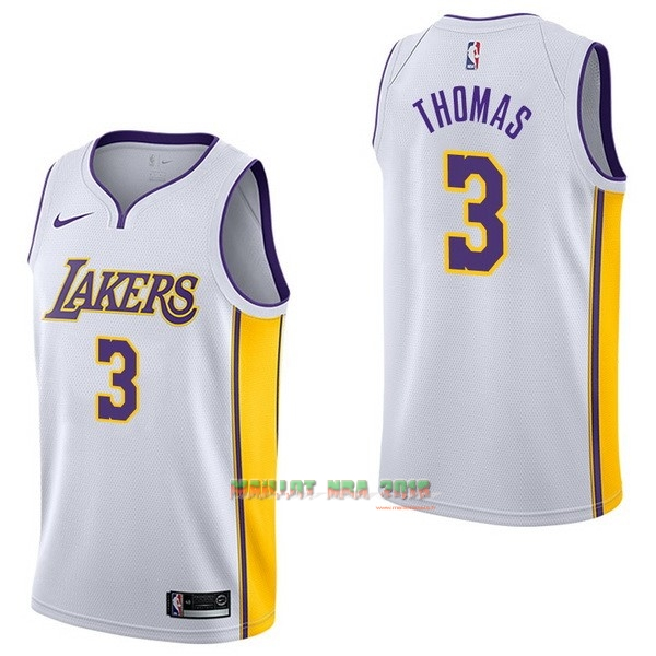 Maillot NBA Nike Los Angeles Lakers NO.3 Isaiah Thomas Blanc Association