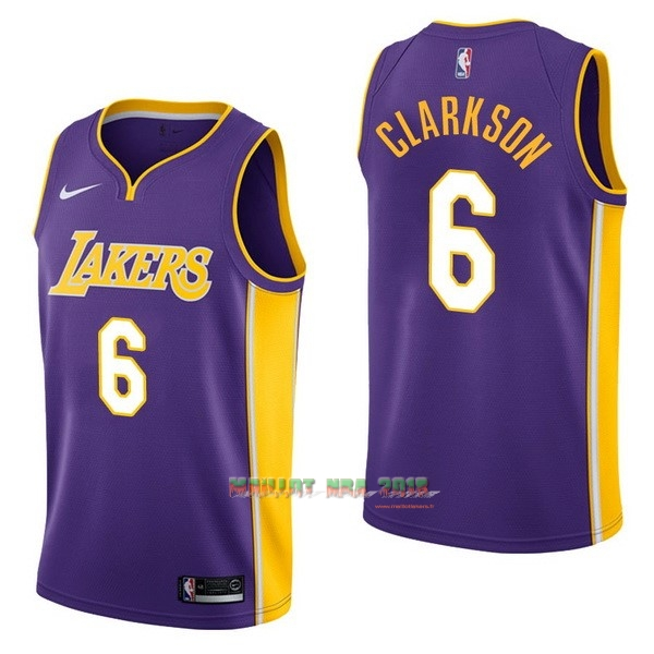 Maillot NBA Nike Los Angeles Lakers NO.6 Jordan Clarkson Pourpre Statement
