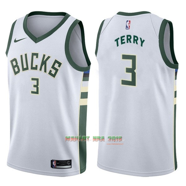 Maillot NBA Nike Milwaukee Bucks NO.3 Jason Terry Blanc Association